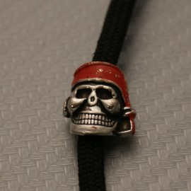 Koralik na Paracord Czaszka Pirat Posrebrzana 3