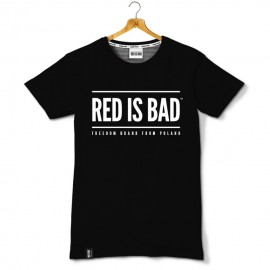 T-shirt Red is bad V.1 logo klasyk - czarna