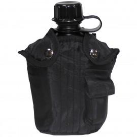 Manierka z pokrowcem MFH 1l - czarna (33213A)