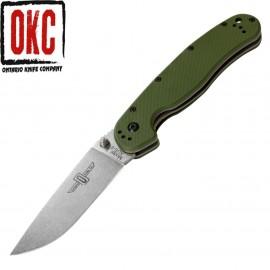 Nóż Ontario 8848FG Rat 1 Folder Satin Plain Green Handle