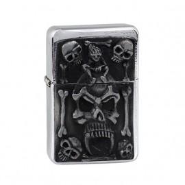 Zapalniczka benzynowa TASMAN Skull 1, emblemat srebrny