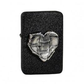 Zapalniczka benzynowa TASMAN Serce w łaty, emblemat srebrny