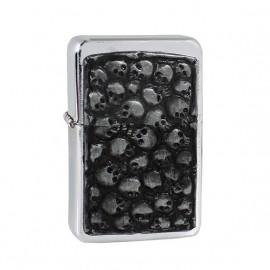 Zapalniczka benzynowa TASMAN Skull 2, emblemat srebrny